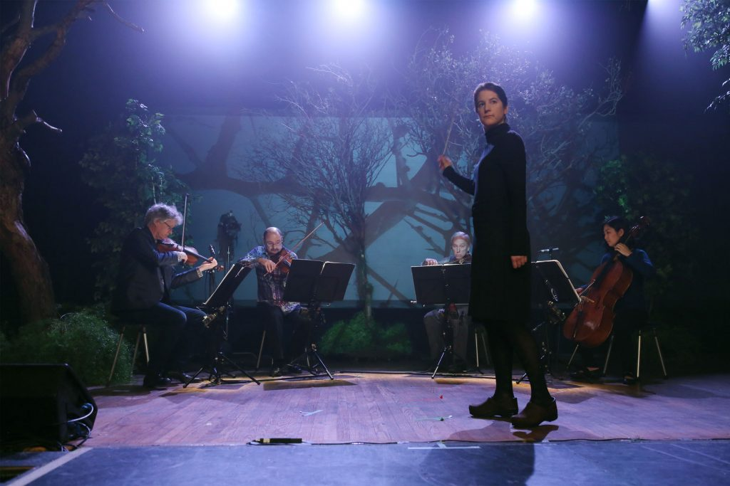 Composer Lisa Bielawa conducts Kronos Quartet at the innovative opera-for-TV Vireo.